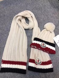Hair Dye Balls Australia - Top Quality Celebrity design Letter Woolen Scarf Hat Men Woman Cashmere wool Fox hair ball hat 2pc 80076481 008 With Box