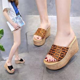 $enCountryForm.capitalKeyWord Australia - FF letter Women Summer Wedge Sandals High Heel Platform Ladies Designer Slide Slipper Brand Fends Flip Flop Luxury Shoes Plus Size C61004