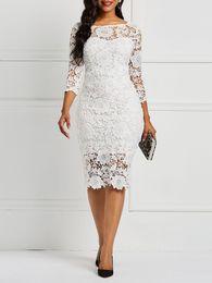 $enCountryForm.capitalKeyWord Australia - Sheath Fit Short Lace Wedding Dresses With 3 4 Sleeves Knee Length 2019 New Modest Vintage Short Bridal Gowns Sleeves Summer Wedding