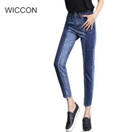 $enCountryForm.capitalKeyWord Australia - Autumn jeans Denim Jeans woman vintage casual Straight pants irregular BF style blue splice High Waist skinny pencil pants