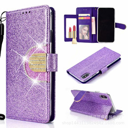 $enCountryForm.capitalKeyWord NZ - Luxury Mirror Wallet Leather Case For iphone XS MAX XR X 7 8 Plus 6 6s Diamond Flip Case Cover With Lanyard