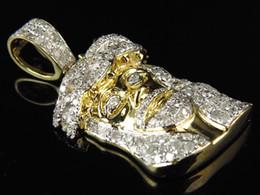$enCountryForm.capitalKeyWord NZ - 10k Yellow Gold 1 inch 3D Jesus Head Pave Genuine Diamonds Charm Pendant 1.0ct