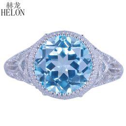$enCountryForm.capitalKeyWord Australia - HELON Solid 14k (AU585) White Gold 4.89ct 100% Genuine Natural Blue Topaz Diamonds Ring Women Engagement Vintage Trendy Jewelry