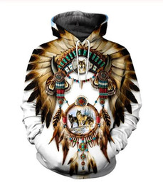 Wholesale indians clothes for sale – custom New Fashion Cool Sweatshirt Hoodies D Print Mens Womens Casual Native Indian Wolf Hot Style Streetwear Clothes