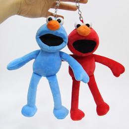 $enCountryForm.capitalKeyWord NZ - Hot Sale 7inch 18cm 2 Style Sesame Street Elmo Keychain Pendant Plush Doll Stuffed Animals Toy For Baby Gifts