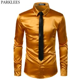Discount mens white casual wedding shirts - Mens Gold Silk Satin Dress Shirts 2 Pieces (Shirt +Tie) Stage Club Party Wedding Shirt Men Social Camisa Masculina Manga