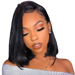 $enCountryForm.capitalKeyWord Australia - Bob Wig With Baby Hair Brazilian Virgin Straight Lace Front Human Hair Wigs Bob Pre Plucked Bleached Knots Side Part