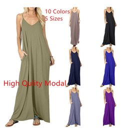 $enCountryForm.capitalKeyWord Australia - Plus Size Women's Long Summer Fashion Solid Colour Cotton Pocket Vest Dresses for Girls 14 Teen to 60 Camisole Skirt