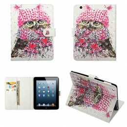 ipad covers owl 2020 - 3D Unicorn Leather Case For Ipad 10.5 9.7 2019 Mini 1 2 3 4 5 ipad 2 3 4 Air Air2 5 6 7 8 9 Wallet Flower Owl Skull Flip