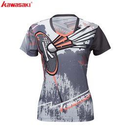 $enCountryForm.capitalKeyWord Australia - KAWASAKI Tennis T-shirt Fitness Compression Clothing Short Sleeve V Neck Sports Shirt For Ladies Sportswear Badminton ST-S2105