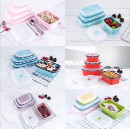Wholesale Silicone bento Box Portable Collapsible Lunch Box Folding Food Storage Container Household Picnic Kitchen Microwave Dishwasher Pack CLS78