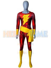 $enCountryForm.capitalKeyWord Australia - Movie Shazam Cosplay Costume Adult Kids man Zentai Suit 3D Print Spandex Halloween Captain-Marvel Superhero Jumpsuit Custom made