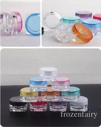 small plastic cosmetic containers 2019 - Free Shipping 4000pcs 3g mixed color 3G Cream Jars, Screw Caps,Clear Plastic Makeup Sub-bottling,Empty Cosmetic Containe