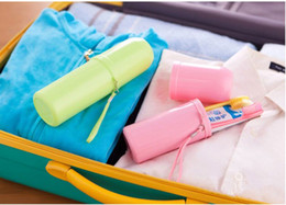 travel storage boxes NZ - Portable travel rinse cup toothbrush box solid color toilet washroom set creative minimalist gargle toothbrush cup #79