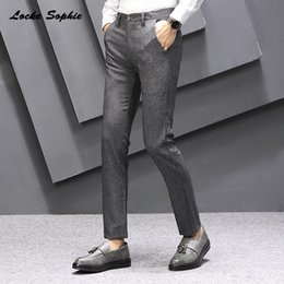 skinny trousers NZ - 1pcs Mens Plus size Pencil pants trousers 2020 Summer Fashion cotton blend Splicing Grey men's Skinny business Pencil trousers