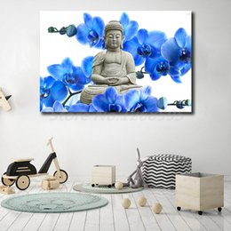 Bedroom Painting Portraits Australia - Buddha Statue In Flower Buddhasim Portrait Wallpaper Art Canvas Poster Painting Wall Picture Print For Home For Living Bedroom Decoration