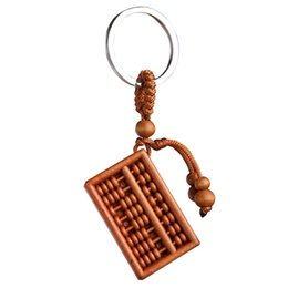 $enCountryForm.capitalKeyWord Australia - Abacus Chinese style Carving Wooden Pendant Keychain Key Ring Chain Wood Carving Ornaments jewelry gift drop shipping wholesale