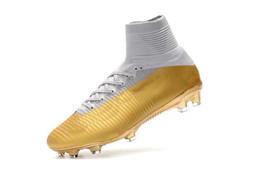 cr7 indoor shoes gold boots NZ - Top High Quality Mens Woman Kids Football Boots Superfly V TF IC FG Soccer Shoes Ronaldo CR7 FG White Gold Soccer Cleat