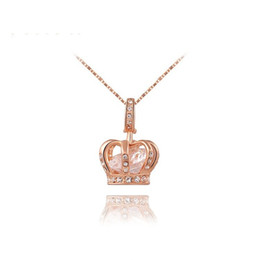 $enCountryForm.capitalKeyWord UK - Womens Queen Crown Pendant Necklace 3 Lays Rose Gold Platinum Plated with Austrain Crystals Best Gift for Girl Friend Party Valentine's Moth