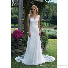 Free 3d Images Australia - 2018 Sexy V Neck White Lace Wedding Dresses Custom Hollow Back Bohemain Bridal Gowns Sweep Train Beach Bridal Dresses Free Shipping