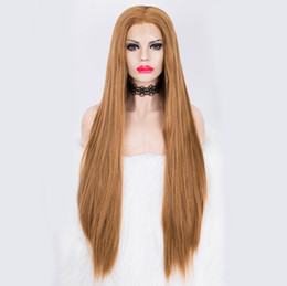 synthetic lace wigs free shipping UK - Free Shipping Heat Resistant Fiber Hair Synthetic Wig Honey Blonde Silk Straight Lace Front Wigs for Women Natural Hairline Middle Part