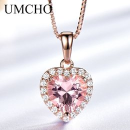 $enCountryForm.capitalKeyWord Australia - Umcho Solid 925 Sterling Silver Pendants Necklaces For Women Rose Pink Morganite Charm Heart Pendant For Girl Gift Fine Jewelry Y19061003