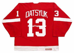 pavel datsyuk jersey cheap Australia - custom Mens Jerseys #13 PAVEL DATSYUK Detroit Red Wings 2002 CCM Vintage Away Cheap Retro Hockey Jersey