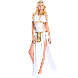 Femmes Grecque Déesse Whtie Or One-piece Sexy Cosplay Plein Étape Belly Dance Performance Porter Des Robes Robe Robe Robe Tenue Costumes Jupe pt9