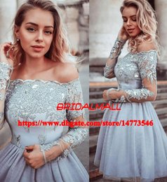 CoCktail dress pink silver online shopping - Long Sleeves Appliqued Tulle Grey Homecoming Dresses Short Prom Dresses For Teens Cheap Mini Cocktail Party Gowns th Graduation Dress