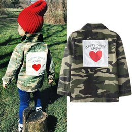 Discount hottest military fashion jacket - Girls Autumn Jacket INS Hot Camouflage Jacket Long sleeve back love letter stickers fashion Brother Sister coat