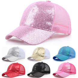 messy girl 2020 - #3Women Girl Cotton Baseball Cap Sequins Shiny Messy Bun Snapback Hat Outdoor Sun Caps Sonnenkapseln cheap messy girl