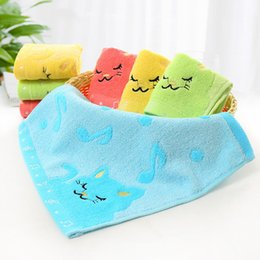 $enCountryForm.capitalKeyWord NZ - 28.5*26CM Cartoon Animal Cat Note Pattern Plain Color Square Handkerchiefs Face Wash Towel For Baby Children Kids