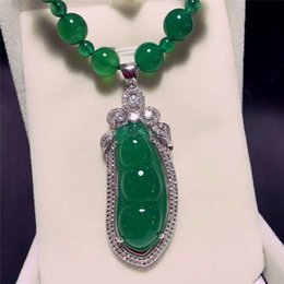 Green Plastic Chain Australia - Koraba Fine Jewelry 925 Silver Inlaid Natural Chalcedony Green Beans Pendant Necklace Sweater Chain Gifts Free Shipping