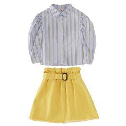 $enCountryForm.capitalKeyWord Australia - DFXD Korean Big Girls Clothes Set Fashion 2019 Autumn Long Sleeve Striped Blouse+Package Hip Skirt Suits 3-12Yrs Clothing Outfit