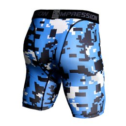Gold Compression Shorts NZ - Camouflage Compression Shorts Men Running Tight Bodybuilding Fitness Men Shorts Summer Sports Jogger Trousers Camo Workout