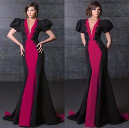$enCountryForm.capitalKeyWord Australia - 2020 Deep V Neck Mermaid Prom Dresses Lace Appliqued Short Bell Sleeves Custom Made Evening Gowns Sweep Train Red Carpet Dress