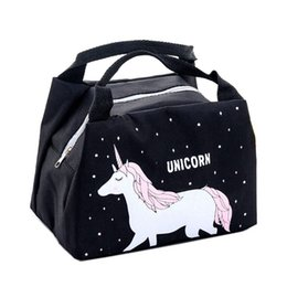 lunch box cartoons Australia - Cartoon Animal Unicorn Lunch Bag Insulated Big Cold Canvas Picnic Totes Girl Portable Waterproof Case Kids Women Thermal Box