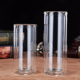 Discount transparent cylinder - Double Deck Insulated Tumblers Lidless Cylinder Transparent Originality Cup ECO Friendly Large Caliber Water Bottle Stud