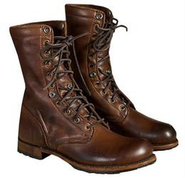 Discount army combat boots men - Botas Hombre 2019 Fashion Men Motorcycle Boots Cool Rivet Combat Army Men Boots Punk Goth Biker PU Shoes Plus Size 48