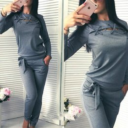 pink jogging suits for women NZ - Fitness Workout Cotton Set Running Set Sports Suits Jumpsuit Clothes Sportswear Jogging Gym For Women Clothing Y190508
