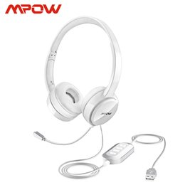 tablet pc for phone call UK - Mpow BH125 USB 3.5mm Plug Wired Headphones With Mic For Mac Skype Call Center PC Laptop Tablet Phones With Noise Reduction Card