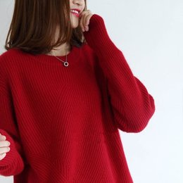 Wholesale woolen sweater women cashmere resale online - utumn and winter woolen sweater women s round neck Pullover Sweater loose large knitwear Korean thickened cashmere women