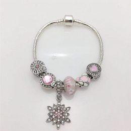 Heart Sun Glasses Wholesale UK - New style DIY lady's bracelet pink peach glass beads and pink heart with sun flower pendant series women's snake bone bracelet