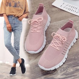 $enCountryForm.capitalKeyWord Australia - MAIJION Light Sneakers For Women Breathable Mesh Socks Running Shoes Female Outdoor Slip On Sport Shoes Lace Up Casual Flats