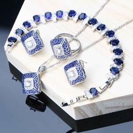 $enCountryForm.capitalKeyWord NZ - Women Dubai Jewelry Sets Wedding Blue Cubic Zircon Silver 925 Jewelry Earrings Bracelet Ring Necklace Set Christmas Gifts