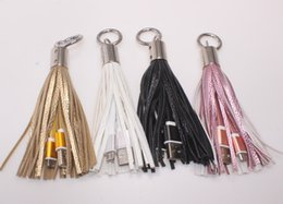 $enCountryForm.capitalKeyWord Australia - Creative tassel Keychain charger mini USB Cable PU Leather fast charger Metal keyring Data cable cord charging adapter for iPhone iPad Andr