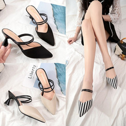 Discount half dragged shoes - Lucky2019 High Sharp Coarse With Baotou Sandals Fitting Between Slipper Woman Xia Baitao Half-dragged Women's Shoes