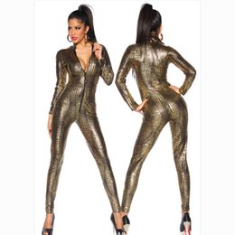 $enCountryForm.capitalKeyWord Australia - Women's Sexy Snake Print Faux Leather Latex Catsuit Costumes Zipper Front For Clubwear Stripper Halloween Party Fancy Dress