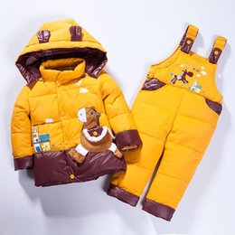 BaBy warmer suit online shopping - Baby Clothes Winter Thicken Warm Down Jacket Suit Children Cute Snowsuit Boys And Girls Down Coat Suit Baby Cartoon Warm Coat