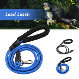 dog leash black NZ - 150cm Reflective Dog Lead Strong Puppy Glow In Dark Leash Rope Pet Cat Walking Lead With Padded Handle Black Blue 3